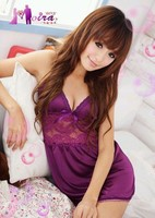 новый ночь Тедди приятно фиолетовый Сексуальное женское одеяние женщин пижама ночная рубашка Ночная сорочка Взрослый клуб носить платье babydoll