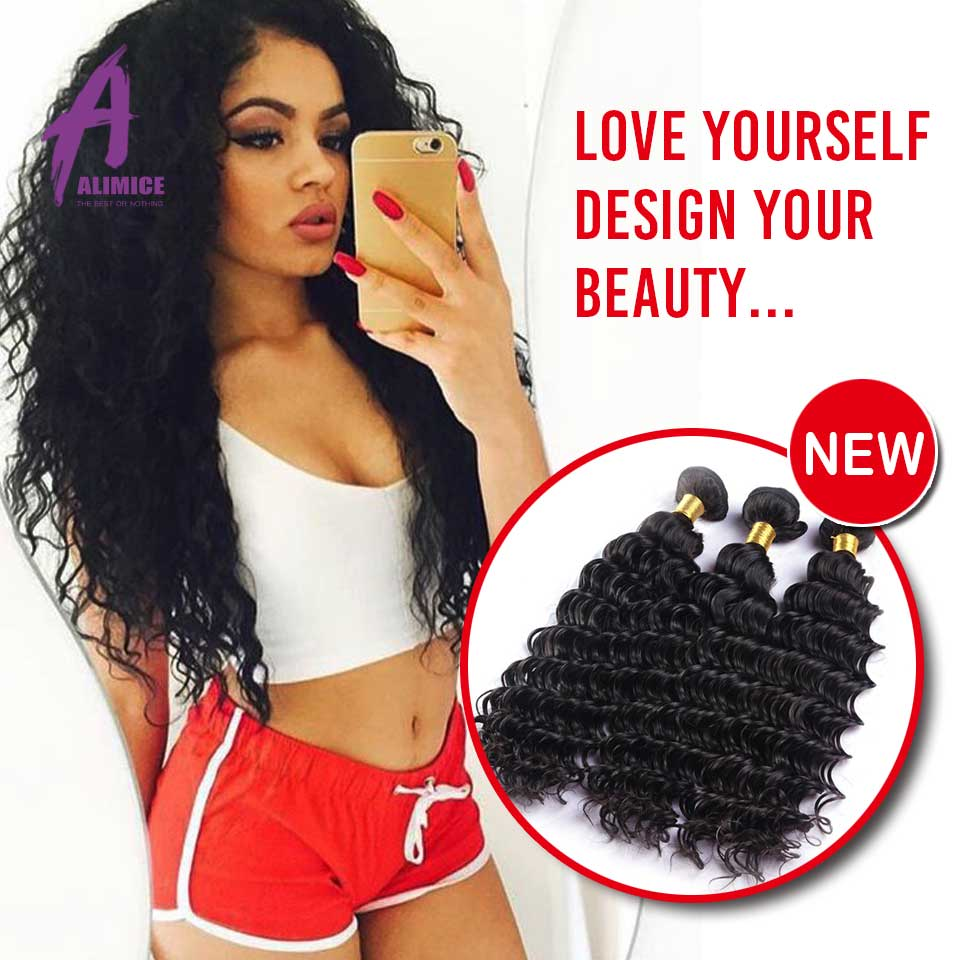Rosa Hair Products Indian Deep Wave 6A Indian Virgin Hair Bundle Deals 3 Bundles Lot Unprocessed Virgin Indian Hair Extension