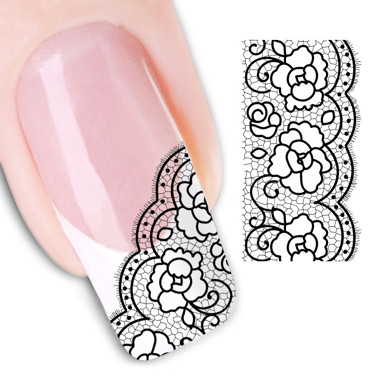 Nail Sticker Beauty Nail Art Decorations Lace Sticker Nails Manicure Accessories 3D Flower Water Decals Stickers(China (Mainland))