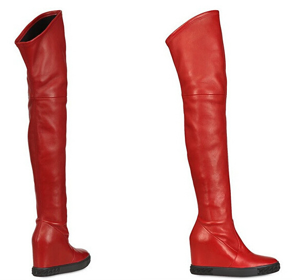 Red Leather Over The Knee Boots Bsrjc Boots