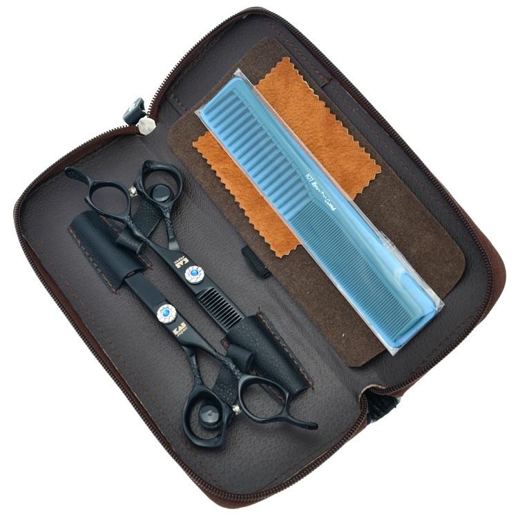 6Inch Kasho Dragon Handle Black Paint Cutting Scissors and Thinning Scissors Kits,Human Hair Scissors with Diamond,1set LZS0189