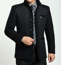 2015 Winter High Quality Men's Woolen Coats Business Casual Overcoat Fashion Wool coat men Windbreaker jacket Peacoat for man(China (Mainland))
