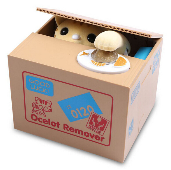 Lovely cute steal money cat automatic saving money box for Home money box