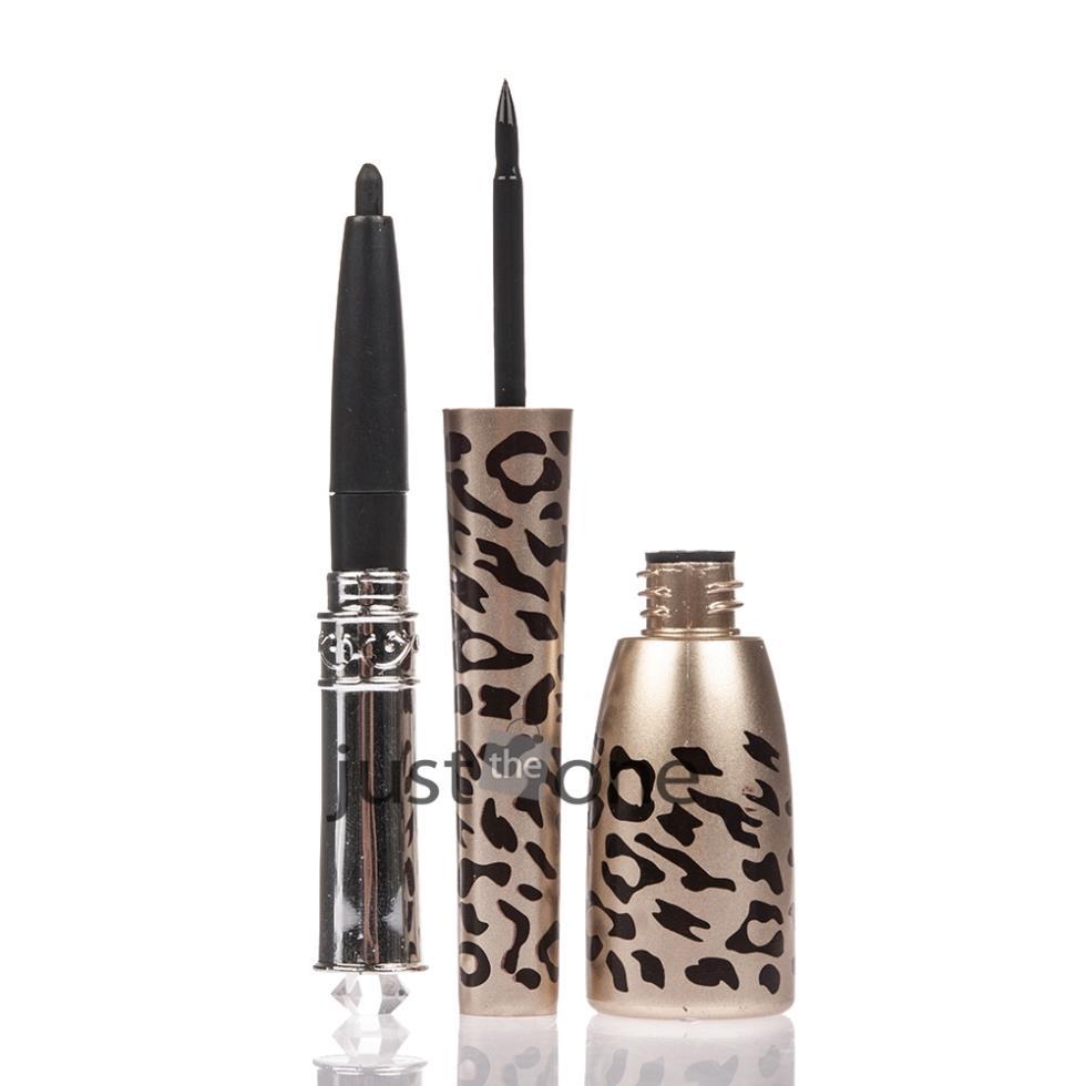 Leopard Shell Waterproof Liquid Eye Liner + Eyeliner Pen Makeup Cosmetic Black New 2 in 1(China (Mainland))