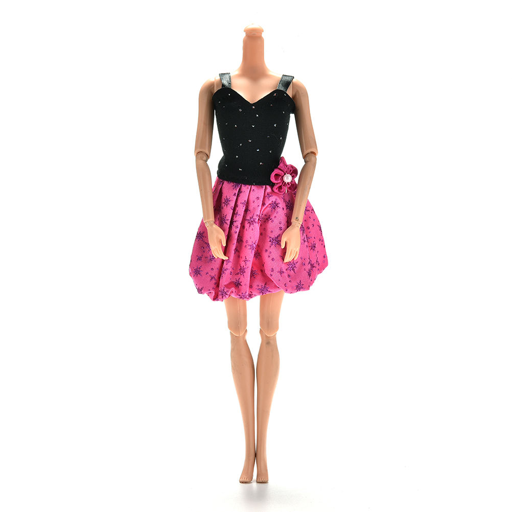 Fashion Handmade Black Rose Patchwork Flower Dress For Barbie Dolls Clothes Party Ball Gown Dress(China (Mainland))