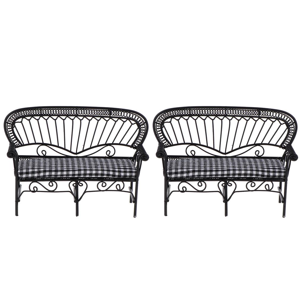 2Pcs 1/12 Dollhouse Miniature Furniture Living Room Garden Vintage Iron Double Chair Double-Seat Sofa Model