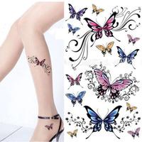 1PCS Hot Colorful Sex Butterfly Tattoo Stickers Temporary Waterproof Tattoos Body Art Beauty Tatoo Water Transfer Fake Tatuagem