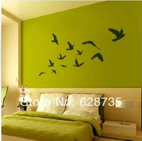 Large size Free Shipping Pretty Birds flying Wall Art Vinyl Decoration Removable Sticker(200CMX110CM),P2020(China (Mainland))