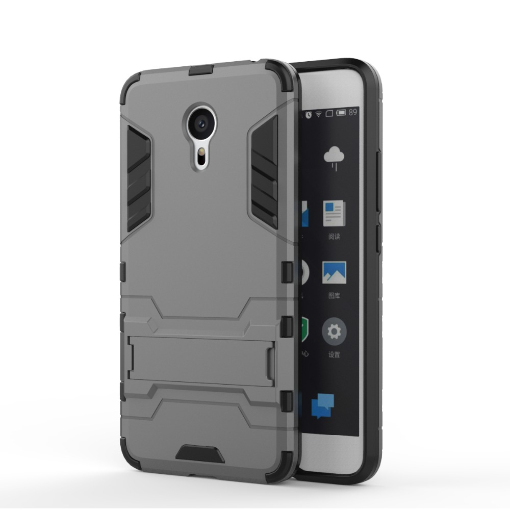 """Pro 6 Case Dual Hybrid Armor Bracket Stand Case For Meizu Pro 6 Double Color Shock Proofforstand Cover For Meizu Pro 5 Mini 5.2""""(China (Mainland))"""