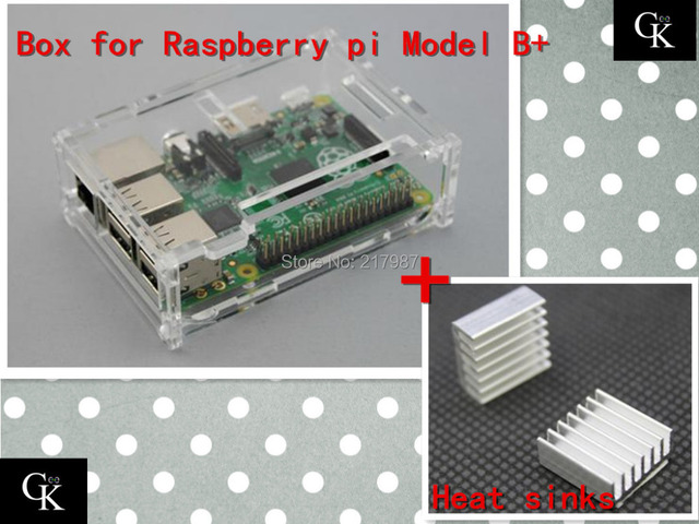 Pi case Factory price Pi Box for Raspberry Pi model B plus &  raspberry pi 2+ 2 pcs pure aluminum heat sink set kit