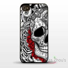 For iphone 4/4s 5/5s 5c SE 6/6s plus ipod touch 4/5/6 back skins cellphone cases cover Sugar skull tattoo graphic rose flower