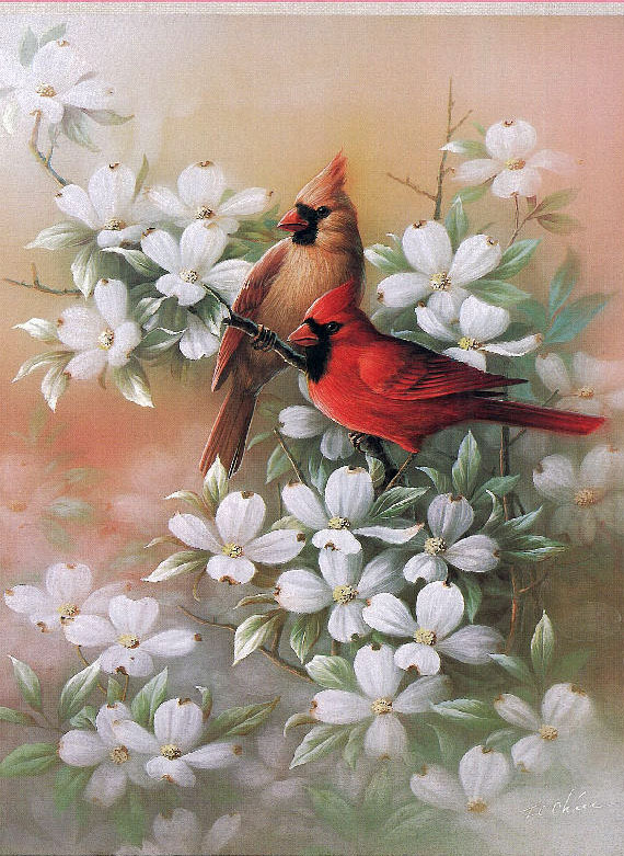 Hand Painted Canvas Oil Painting of Birds and Flowers