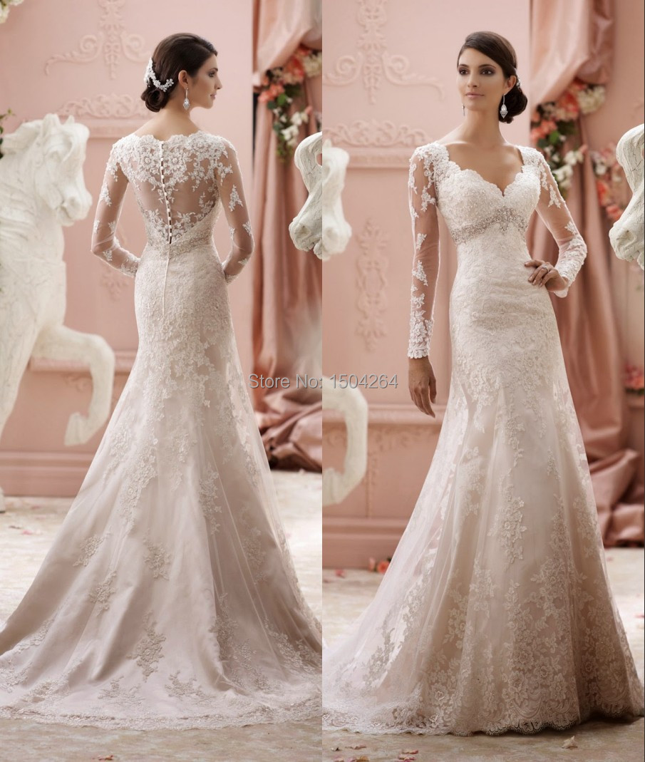 long sleeves wedding dresses 2015 scalloped neck elegant