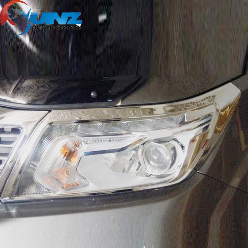 ABS car chrome strips for nissan navara np300 accessories head light covers trim for nissan navara np300 2014-2016 car styling(China (Mainland))