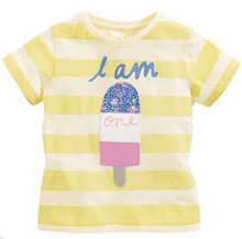 2016 New Fashion Baby Girls T-Shirt No.1 Stripe Children Clothing Cute Tops Short Sleeve 100% Cotton Tees Casual Kids T Shirt