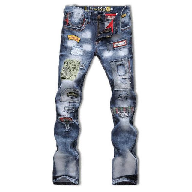 2016 новый популярный стиль отверстие патч нищих джинсы брюки мужчины мужской большой ...
