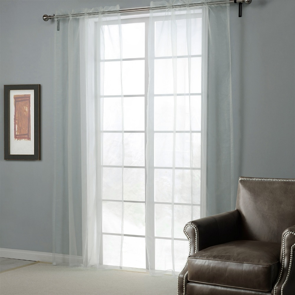White window screening printed solid curtains for the bedroom modern sheer curtain punching - Curtain for kitchen door ...