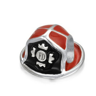 Red Enamel Fire Department Fireman Hat 100% 925 Sterling Silver Charm Bead Fits Pandora European Charms Bracelet NecklaceM2<br><br>Aliexpress