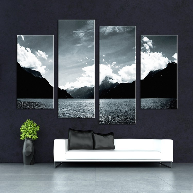 4Pcs(No Frame) Simple Modern Black And White Lake Painting Canvas Picture Wall Picture Painting Decorative Paintings CSQ397(China (Mainland))