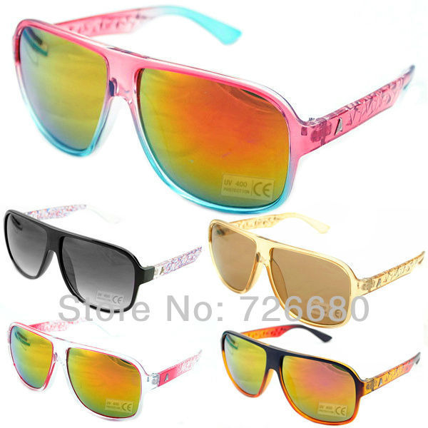 Free shipping! Fashion 80s Style Multi-Coloured Mirror Round UV400 Sunglasses 120-0032