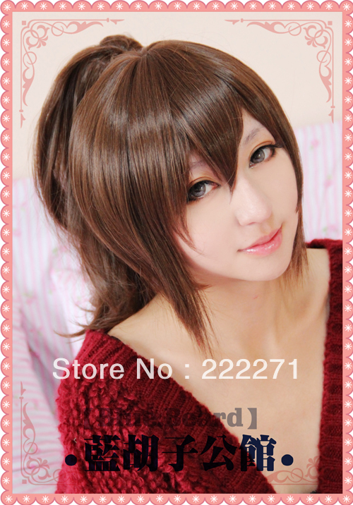 FREE SHIPPING Short Mixed Brown Full Lace Ponytail Cosplay Wig Anime Gintama Shimura Tae Costume Heat Resistant + Cap<br><br>Aliexpress