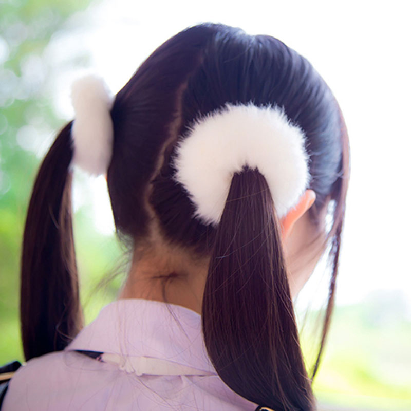 fashion rabbit fur pom pom elastic Hair bands headbands for women girls kids ponytail holder ties bows hoop accessories cheveux(China (Mainland))