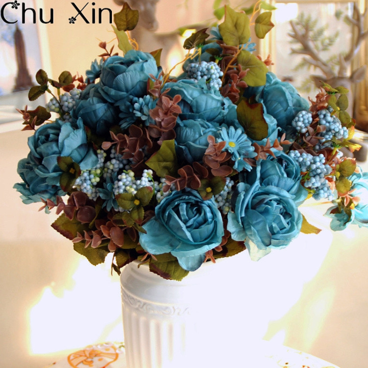 European artificial peony silk rose 7 heads with Water plants Fake Leaf for Wedding Home Party Decoration one bouquet(China (Mainland))