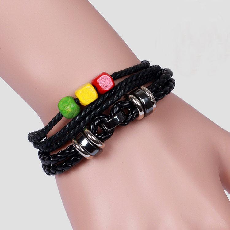 Cool Rock Punk Leather Bracelet Wooden Beads Bracelets Black Hemp Cord Bracelet Free Shipping(China (Mainland))