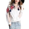 Fashion Summer Elegant Women Blouse Flower Embroidery Vintage Shirts Organza Sleeve Tops