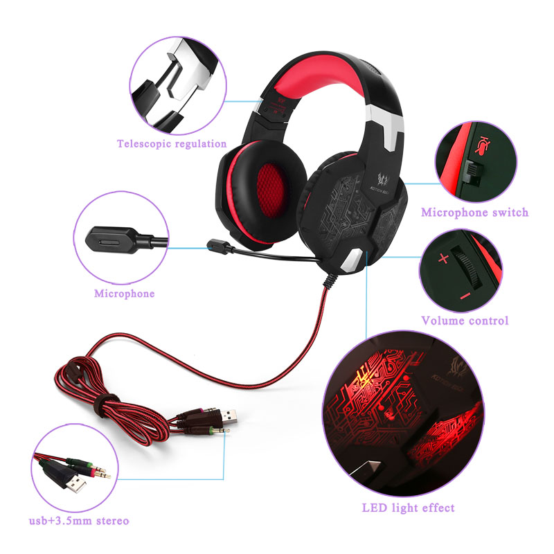 KOTION EACH G1000 Pro 3.5mm / USB Bass Stereo Gaming Headset Noise Isolation Game Headphones Earphones with Mic LED for PC Gamer