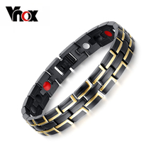 Buy Vnox Trendy Health Magnetic Bracelet Men Jewelry Black & Gold-color 316l Stainless Steel Adjustable Length for $5.50 in AliExpress store
