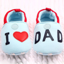 Lovely Toddler First Walkers Baby shoes Round Toe Flats Soft Slippers Shoes I Love MOM/DAD(China (Mainland))