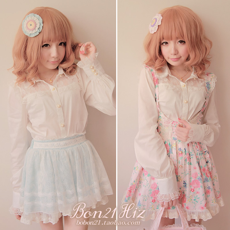 Princess sweet lolita blouse Vintage white lace classic royal turn collar patchwork OL cotton silky shirt t0891