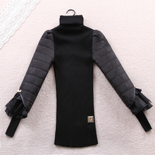 hot sale women sweaters and pullovers Warm Winter Fashion Knitted Pullover Black Lace Lantern Sleeve Knitwear oversized sweater(China (Mainland))