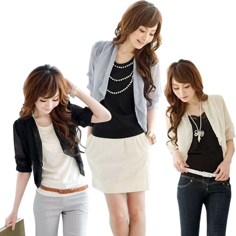 New Spring Summer Womens Ladies Bolero Fashion 3/4 Chiffon Sheer Shrug Cardigan Tops Blouse Brand New(China (Mainland))
