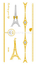 2016 Rushed Waterproof Tattoo Stickers Hot Gold And Silver Eiffel Tower Charm Bracelet Elements Large Amount Of Discount Vh0303(China (Mainland))