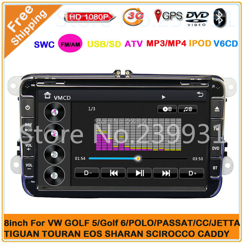 VW Volkswagen Polo,Passat B6,CC,Jetta,Car Multimedia DVD with GPS, Bluetooth+3G+TV+IPOD+V-6CD+SD/USB+MP3/MPEG4+Steering wheel(China (Mainland))