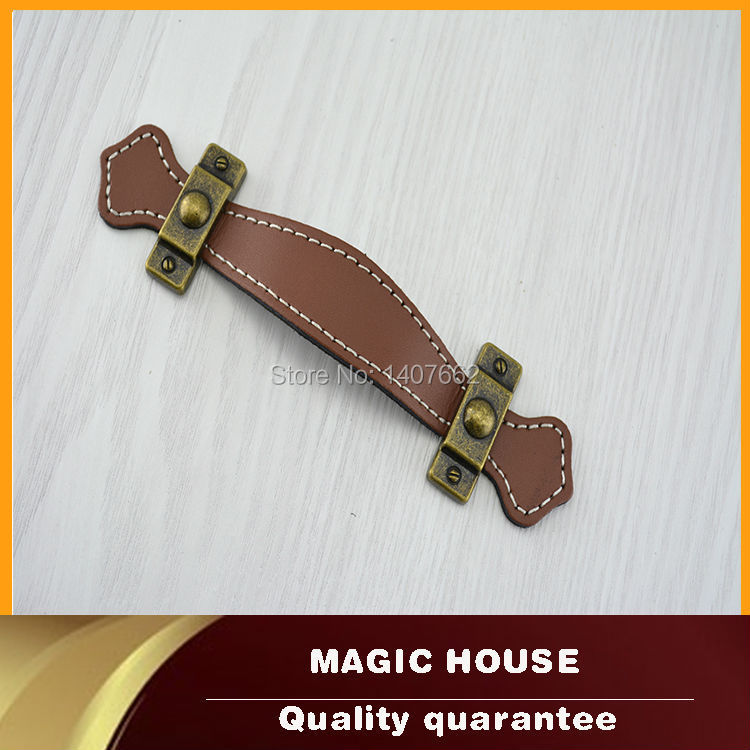 128MM Brown Leather Handles furniture decorative kitchen cabinet handle high quality armbry door pull(China (Mainland))