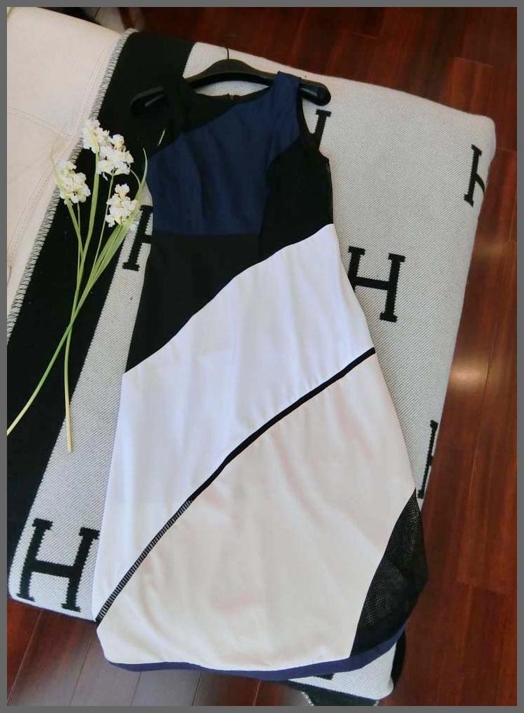 OSCAR NINE Top Brand Luxury Women White Black Blue Mesh Spliced Long Dress Sleeveless Female Autumn Clothes Summer Clothing(China (Mainland))