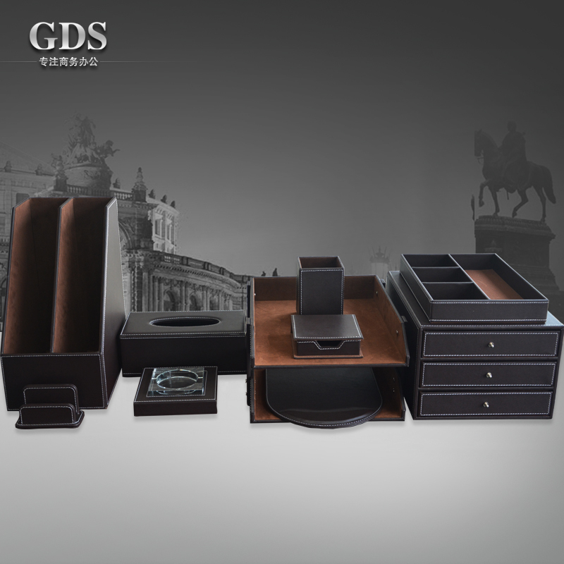 Gardensun 10pcs set luxury leather office desk stationery - Leather desk organizer set ...