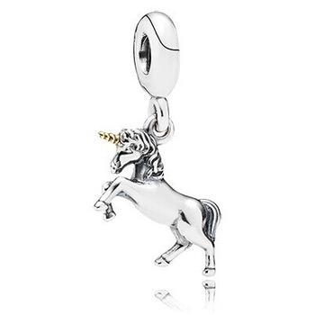 wholesale 1pc 100% 925 Sterling Silver Bead Unicorn Dangle Charm Pendant Bead Fits pandora Bracelet Free Shipping