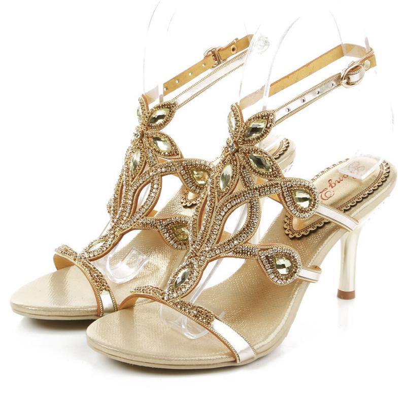 Фотография 2016 New women sandals genunie leather high heels women Rhinestone sandals for ladies party shoes,women wedding shoes GS-L014GDX