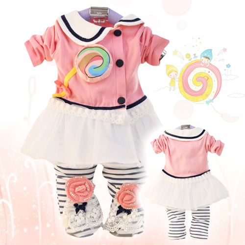 Free shipping! 2013New autumn spring  baby gilr clothing sets lollipop preppy style child newborn sets twinset  old baby clothes<br><br>Aliexpress