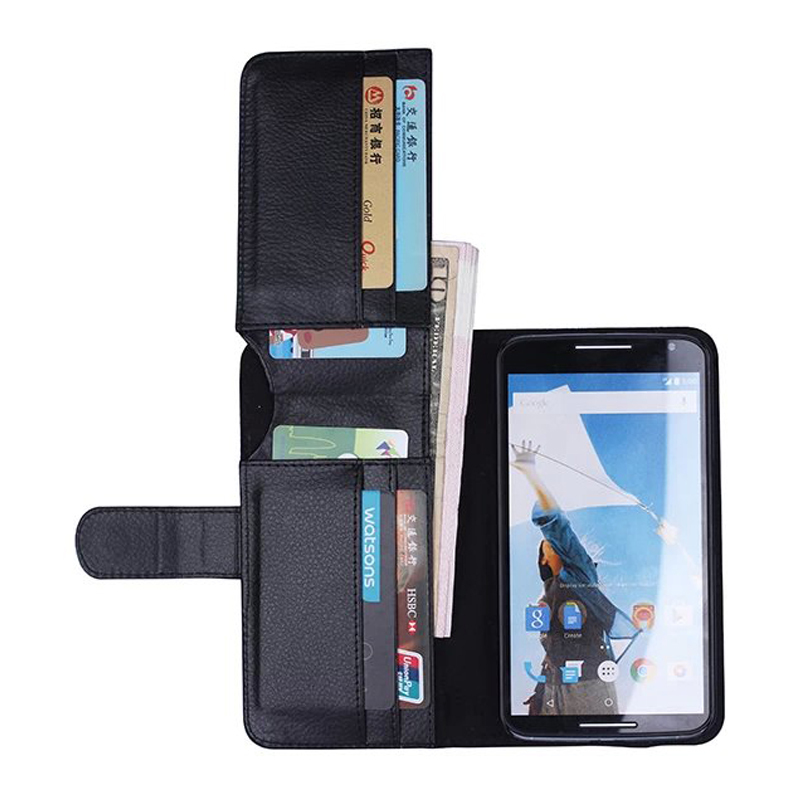 10pcs/lot Wallet Stand Design Luxury Retro Genuine Leather Case for Google Nexus 6 Flip Bag Cover with Card Holder and Bill Site