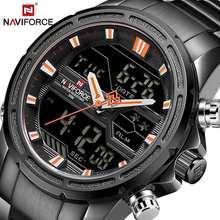 NAVIFORCE luxe hommes montre plein acier militaire montre-bracelet numérique sport montres hommes étanche Quartz horloge relogio masculino(China)