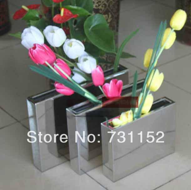 Home bar club restaurant office decor table rectangle metal flower pot planter pot flower vase(China (Mainland))