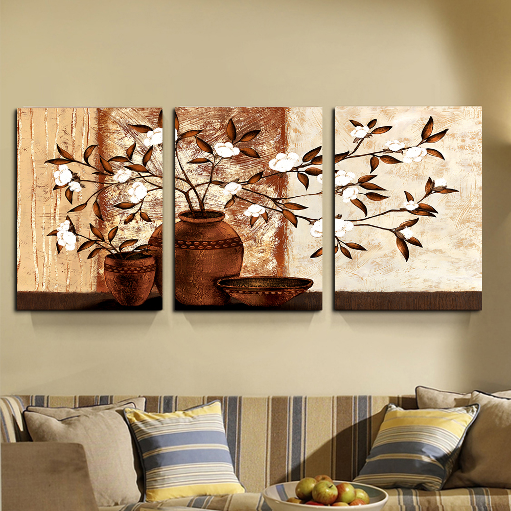Flowers in a vase wall painting flower canvas paintings - Cuadro para pared ...