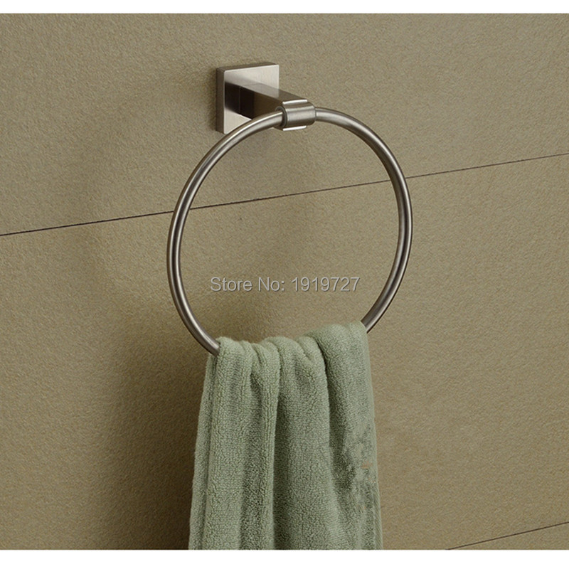 High Quality Luxury Round 304 Stainless Steel Brushed Construction Easy To Install Wall Mounted Towel Ring Bathroom Accessories(China (Mainland))