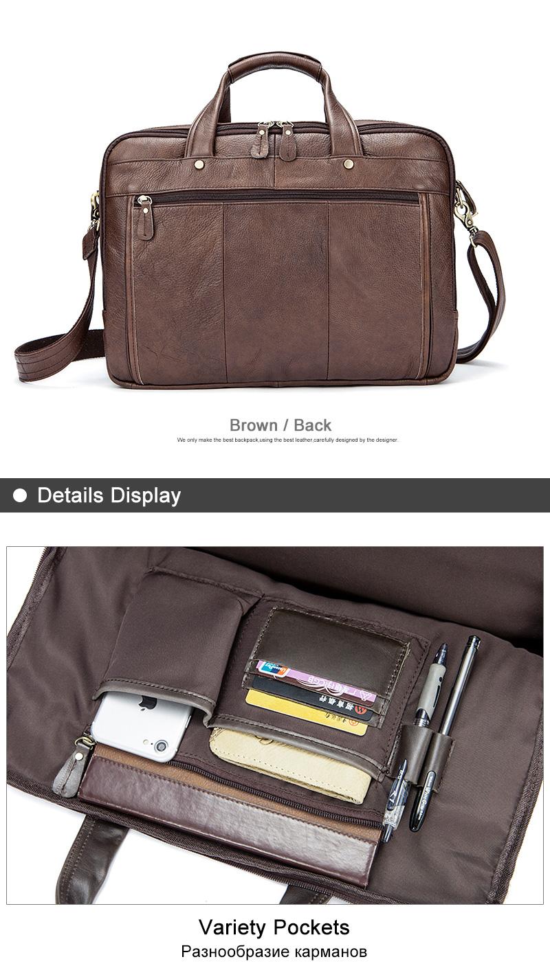 WESTAL Genuine Leather Men Bags Business Laptop male bags Men's Briefcase casual Tote Shoulder Handbag Men's travel bag 8897
