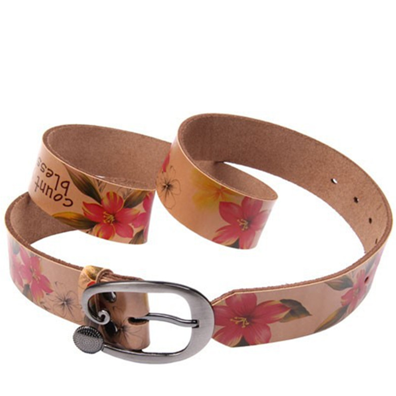 Flower Print Designer Belts For Women Luxury Brand Genuine Leather Belt Female Strap Fashion Belt Jeans